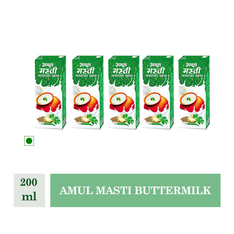Health Drinks, Amul Masti Buttermilk - 180ml (Pack of 5Pcs)