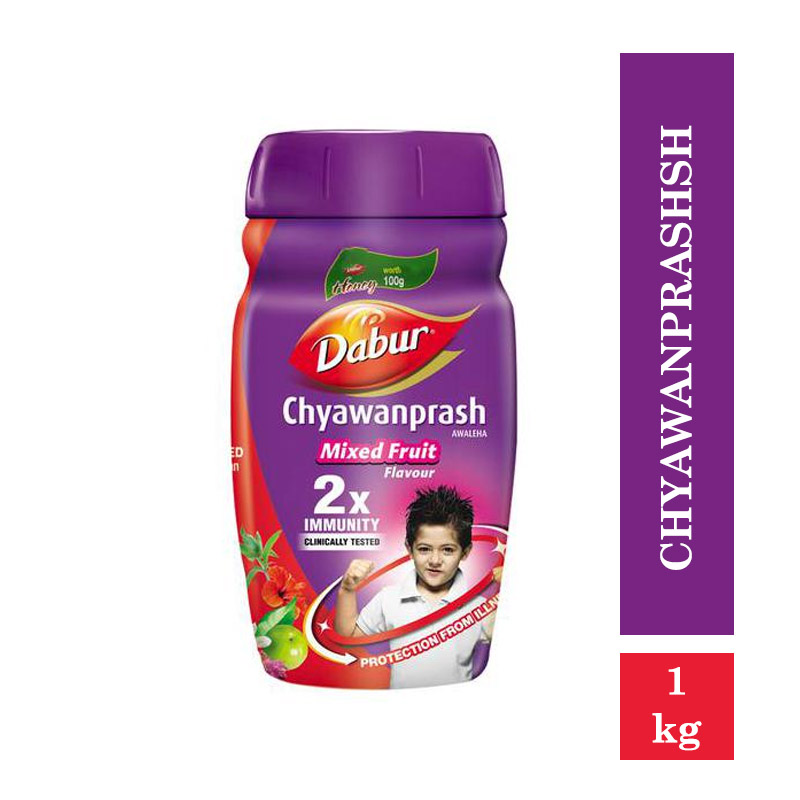 Dabur Chyawanprash - 2X Immunity - Mixed Fruit Flavour (Free 100gm Honey) (1kg)