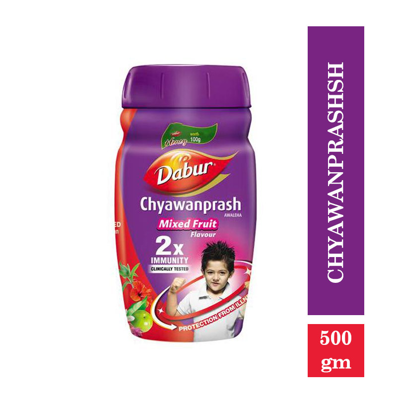 Dabur Chyawanprash - 2X Immunity - Mixed Fruit Flavour (Free 50gm Honey) (500gm)
