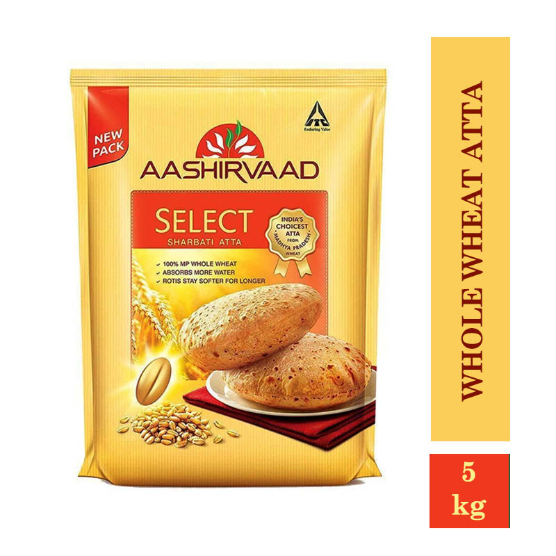 Aashirvaad Select Sharbati Whole Wheat Atta (5kg) + Free 1 Pcs Towel