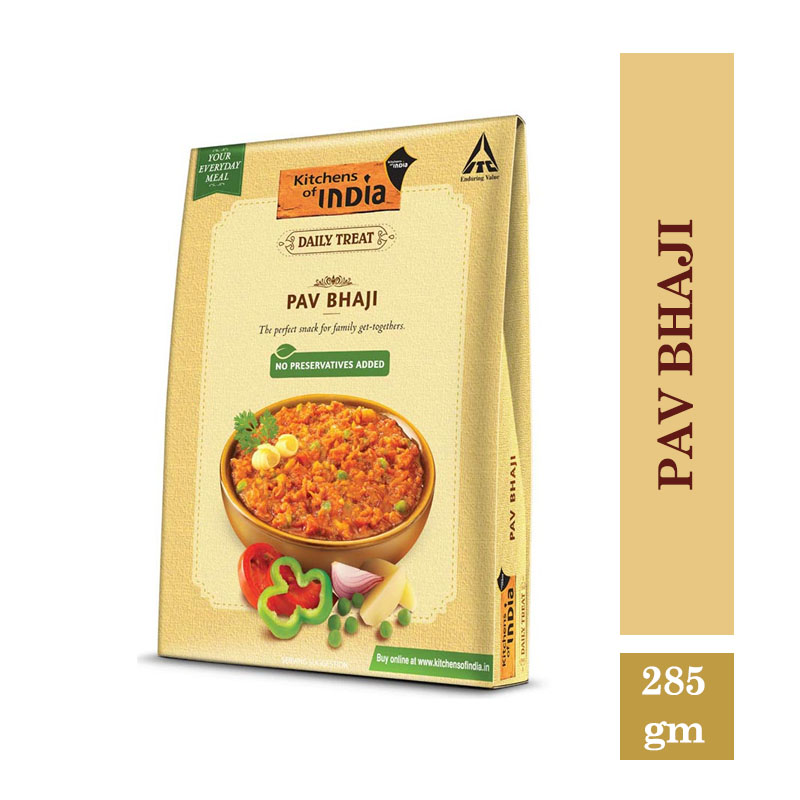 Ready to Cook & Eat, Kitchen's of India Ready to Eat - Pav Bhaji (285gm)