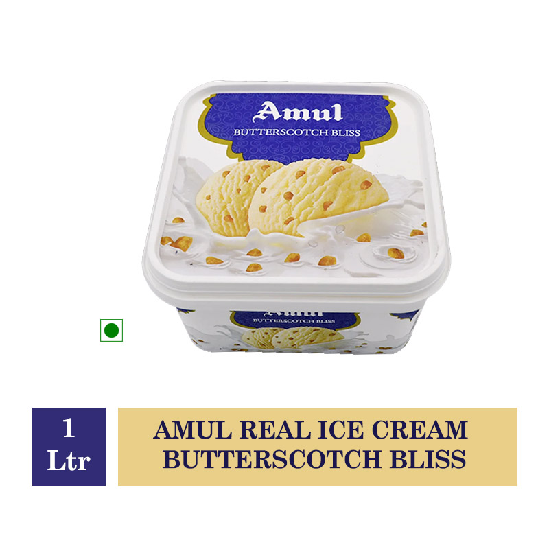 Ice Creams & Desserts, Amul Real Ice Cream Butterscotch Bliss - 1Ltr
