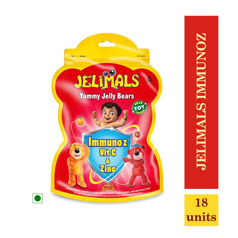 New Arrivals, Jelimals Immunoz with Vitamin C & Zinc - With Free Toy Inside - 18 Units