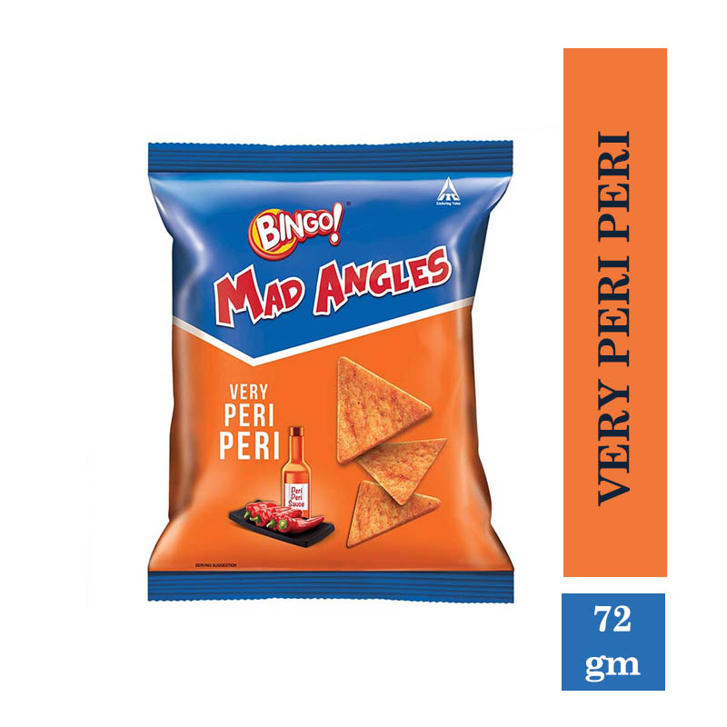 Snacks & Namkeen, Bingo Mad Angles Very Peri Peri - 72gm