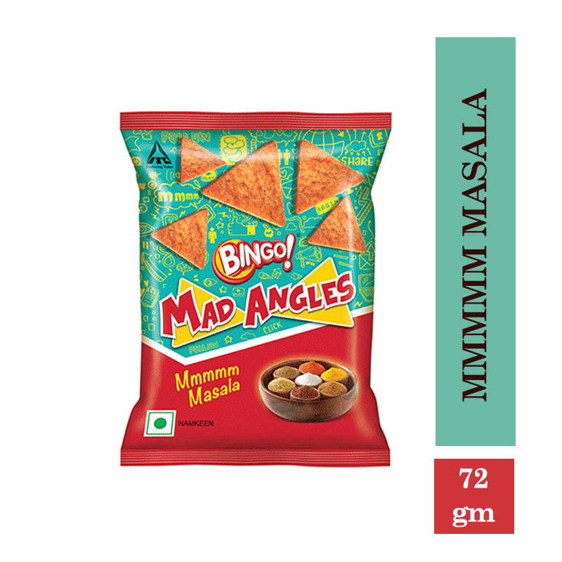 Snacks & Namkeen, Bingo Mad Angles Mmmmm Masala - 72gm