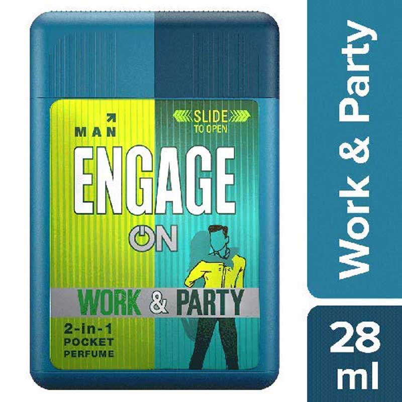 Men's Grooming, Engage On 2in1 Pocket Perfume Work & Party - for Men - 28ml